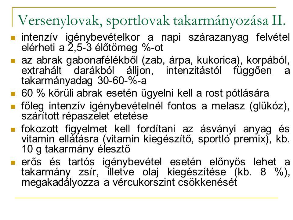 Versenylovak, sportlovak takarmányozása II.