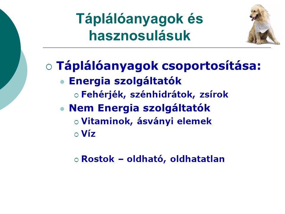 Táplálóanyagok és hasznosulásuk  Táplálóanyagok csoportosítása: Energia szolgáltatók  Fehérjék, szénhidrátok, zsírok Nem Energia szolgáltatók  Vita