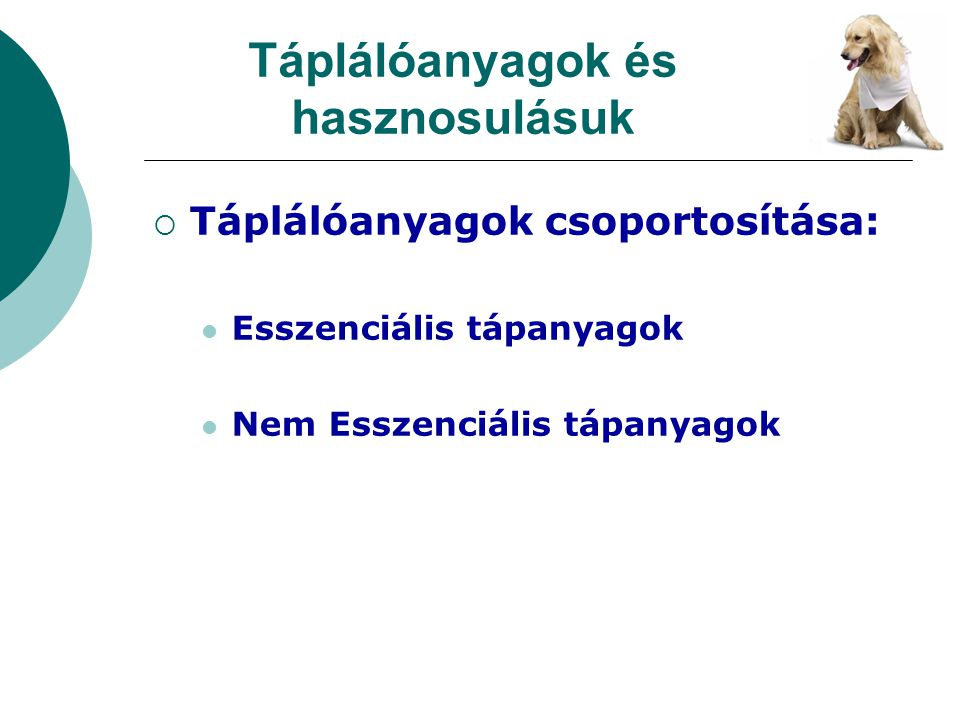  Táplálóanyagok csoportosítása: Esszenciális tápanyagok Nem Esszenciális tápanyagok Táplálóanyagok és hasznosulásuk