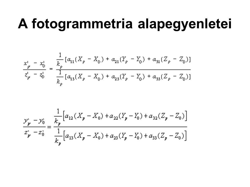 A fotogrammetria alapegyenletei