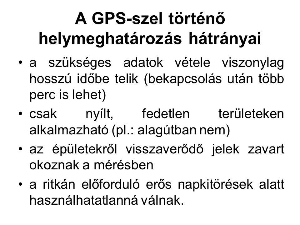 A GPS-szel történő helymeghatározás hátrányai a szükséges adatok vétele viszonylag hosszú időbe telik (bekapcsolás után több perc is lehet) csak nyílt