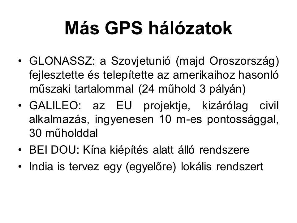 Más GPS hálózatok GLONASSZ: a Szovjetunió (majd Oroszország) fejlesztette és telepítette az amerikaihoz hasonló műszaki tartalommal (24 műhold 3 pályá