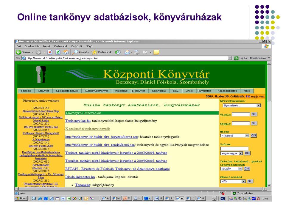 Online tankönyv adatbázisok, könyváruházak