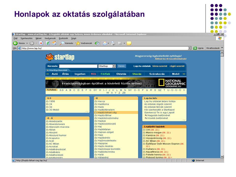Honlapok az oktatás szolgálatában