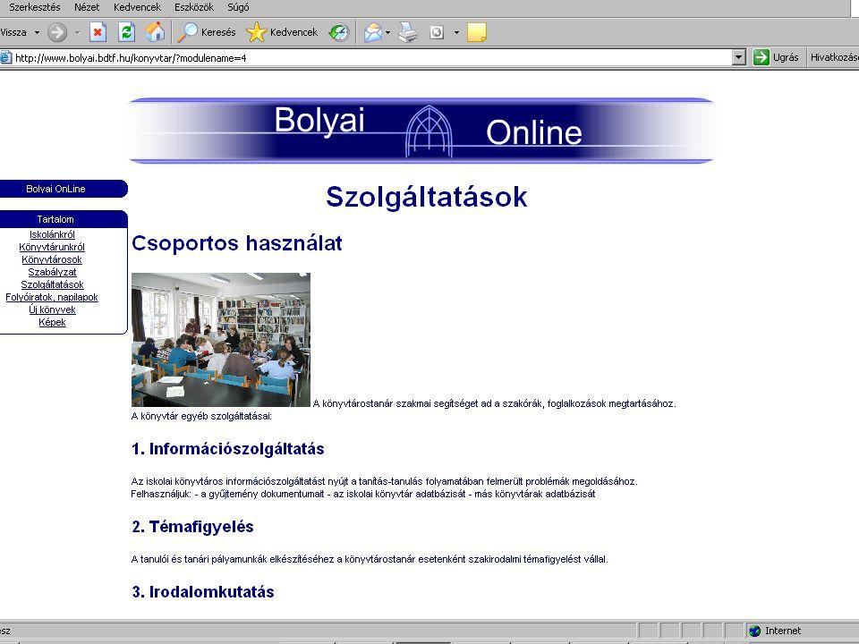 Könyvtári katalógusok Saját  Hagyományos (cédula) - korlátok  Elektronikus (szoftverválasztás)  Dokumentumok teljes köre – elektronikus dokumentumok kapcsolása  Rekordok importálása  Közös katalógusok (Z39.50) - ne szoftveralapon!!.