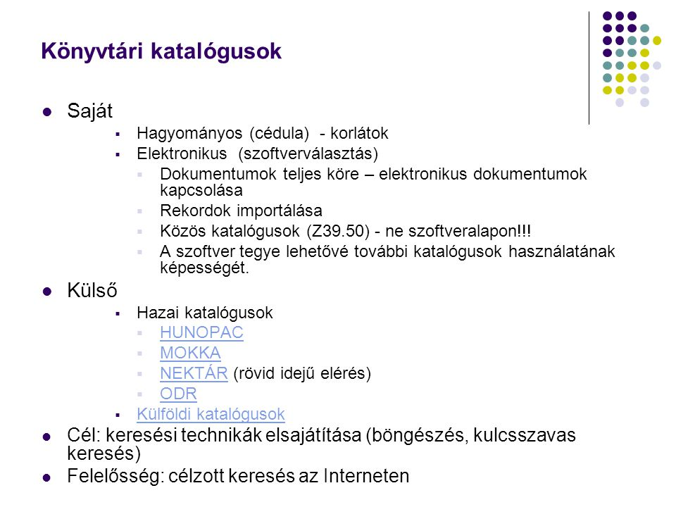 Integrált könyvtári rendszerek Integrált könyvtári rendszerek Magyarországon AMICUS integrált könyvtári rendszer A Magyarországi Aleph Csoport könyvtárai - ALEPH AMICUSAleph ALEPH Bibliotéka cikk-, mikrofilm-, kép-, irodalmielemzés-feltáró programcsomag Bibliotéka Corvina és a rendszert használó könyvtárak Corvinakönyvtárak ELKA Integrált Könyvtári Szoftver ELKA GEORGE Integrált Könyvtári Programrendszer GEORGE HORIZON Könyvtári integrált rendszer (korábbi nevén DYNIX) HORIZON HunTéka integrált könyvtári rendszer HunTéka KisTéka könyvtári rendszer KisTéka koLIBRI könyvtárállomány nyilvántartó program koLIBRI Millenium NanLIB integrált könyvtári programrendszer NanLIB OLIB Integrált könyvtári rendszer OLIB Qtéka integrált információkezelő rendszer Qtéka SR LIB - könyvtári dokumentációs rendszer, (tájékoztatás a rendszerről) SR LIB(tájékoztatás a rendszerről) SZIKLA Integrált könyvtári rendszer SZIKLA SZIRÉN Integrált könyvtári rendszer SZIRÉN TextLib-et használó könyvtárak -- TEXTLIB TINLIB-et használó könyvtárak -- TINLIB TextLib-etTEXTLIBTINLIB-etTINLIB TINLIB-et használó könyvtárak -- TINLIB TINLIB-etTINLIB