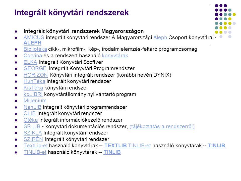 Integrált könyvtári rendszerek Integrált könyvtári rendszerek Magyarországon AMICUS integrált könyvtári rendszer A Magyarországi Aleph Csoport könyvtá