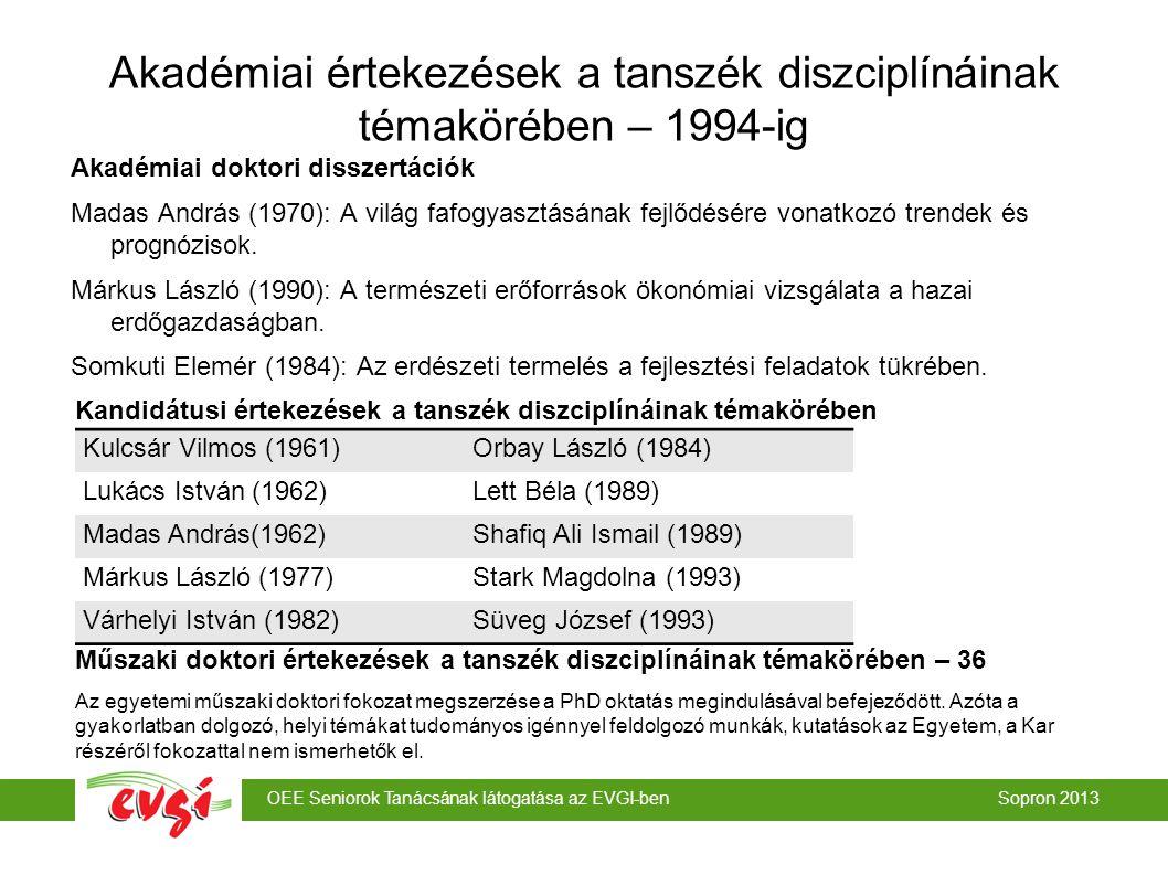 OEE Seniorok Tanácsának látogatása az EVGI-ben Sopron 2013 Akadémiai értekezések a tanszék diszciplínáinak témakörében – 1994-ig Akadémiai doktori disszertációk Madas András (1970): A világ fafogyasztásának fejlődésére vonatkozó trendek és prognózisok.