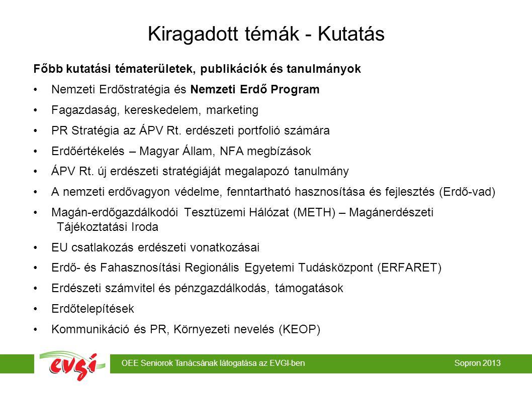 OEE Seniorok Tanácsának látogatása az EVGI-ben Sopron 2013 Kiragadott témák - Kutatás Főbb kutatási tématerületek, publikációk és tanulmányok Nemzeti Erdőstratégia és Nemzeti Erdő Program Fagazdaság, kereskedelem, marketing PR Stratégia az ÁPV Rt.