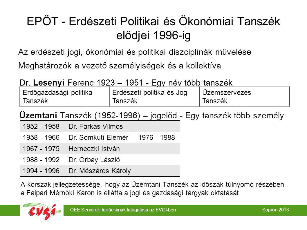 OEE Seniorok Tanácsának látogatása az EVGI-ben Sopron 2013 EPÖT - Erdészeti Politikai és Ökonómiai Tanszék elődjei 1996-ig Az erdészeti jogi, ökonómiai és politikai diszciplínák művelése Meghatározók a vezető személyiségek és a kollektíva Dr.
