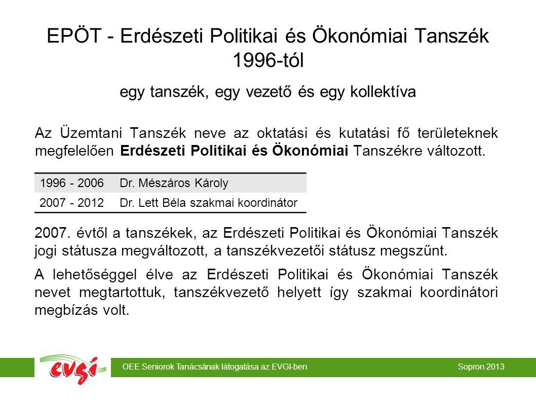 OEE Seniorok Tanácsának látogatása az EVGI-ben Sopron 2013 egy tanszék, egy vezető és egy kollektíva EPÖT - Erdészeti Politikai és Ökonómiai Tanszék 1996-tól Az Üzemtani Tanszék neve az oktatási és kutatási fő területeknek megfelelően Erdészeti Politikai és Ökonómiai Tanszékre változott.