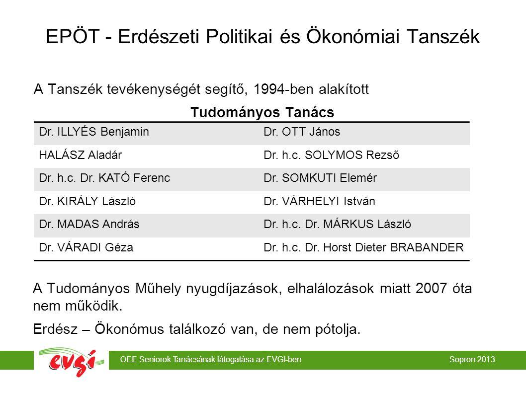 OEE Seniorok Tanácsának látogatása az EVGI-ben Sopron 2013 EPÖT - Erdészeti Politikai és Ökonómiai Tanszék A Tanszék tevékenységét segítő, 1994-ben alakított Tudományos Tanács A Tudományos Műhely nyugdíjazások, elhalálozások miatt 2007 óta nem működik.