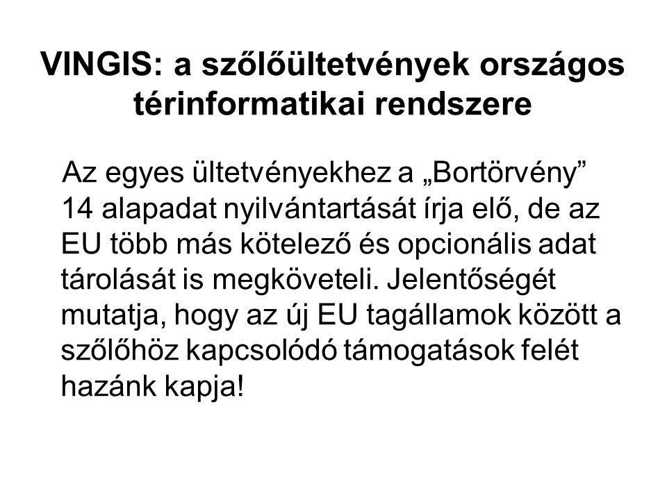 """VINGIS: a szőlőültetvények országos térinformatikai rendszere Az egyes ültetvényekhez a """"Bortörvény"""" 14 alapadat nyilvántartását írja elő, de az EU tö"""