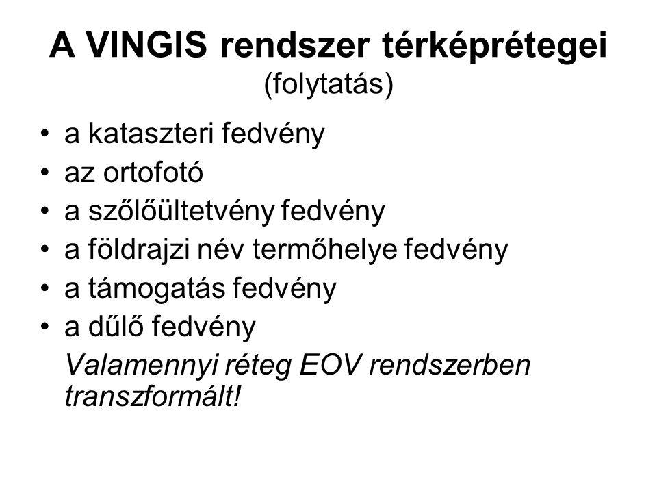 A VINGIS rendszer térképrétegei (folytatás) a kataszteri fedvény az ortofotó a szőlőültetvény fedvény a földrajzi név termőhelye fedvény a támogatás f