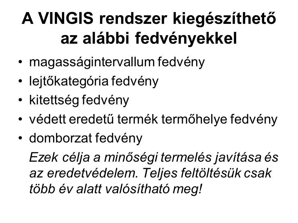A VINGIS rendszer kiegészíthető az alábbi fedvényekkel magasságintervallum fedvény lejtőkategória fedvény kitettség fedvény védett eredetű termék term