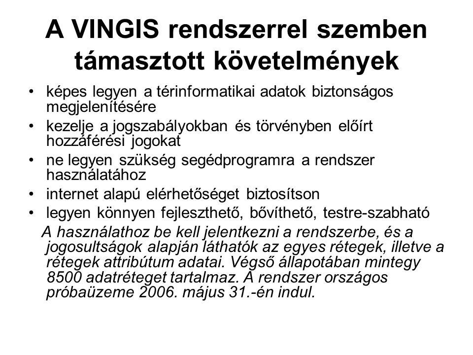 A VINGIS rendszerrel szemben támasztott követelmények képes legyen a térinformatikai adatok biztonságos megjelenítésére kezelje a jogszabályokban és t