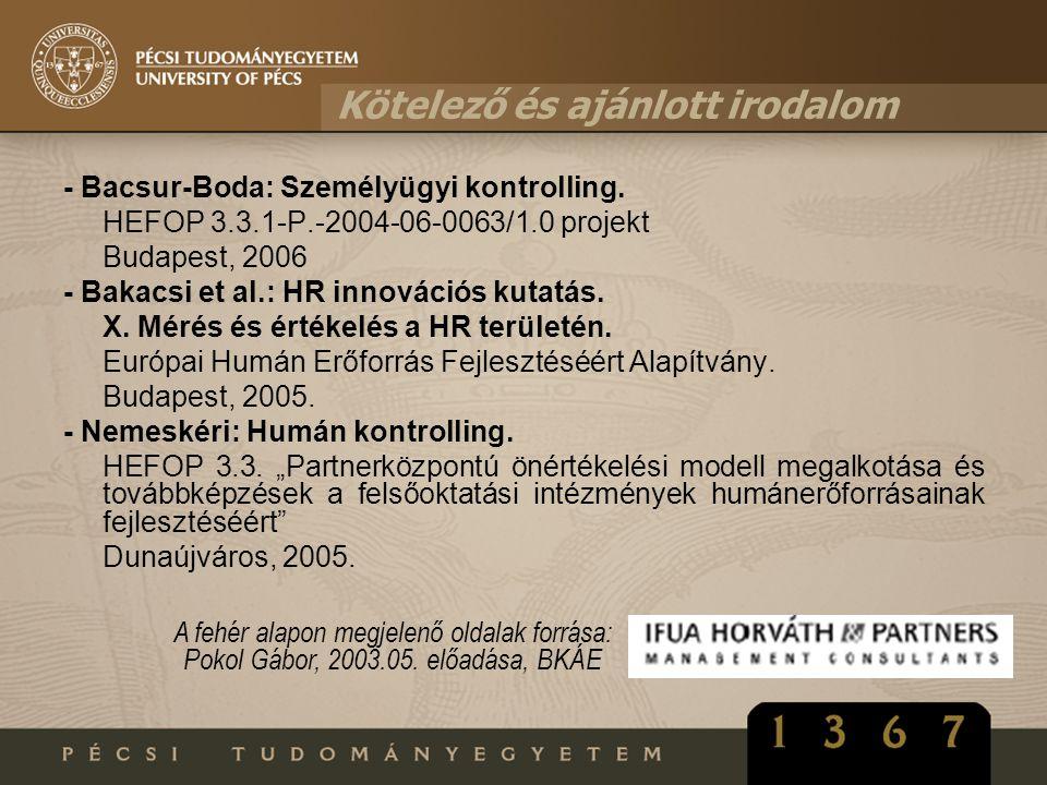 Kötelező és ajánlott irodalom - Bacsur-Boda: Személyügyi kontrolling. HEFOP 3.3.1-P.-2004-06-0063/1.0 projekt Budapest, 2006 - Bakacsi et al.: HR inno