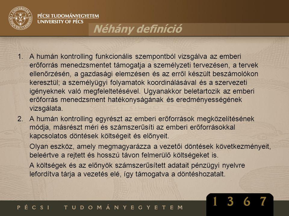 Néhány definíció 1.A humán kontrolling funkcionális szempontból vizsgálva az emberi erőforrás menedzsmentet támogatja a személyzeti tervezésen, a terv