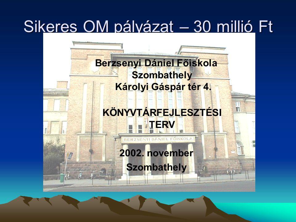 Sikeres OM pályázat – 30 millió Ft Berzsenyi Dániel Főiskola Szombathely Károlyi Gáspár tér 4.