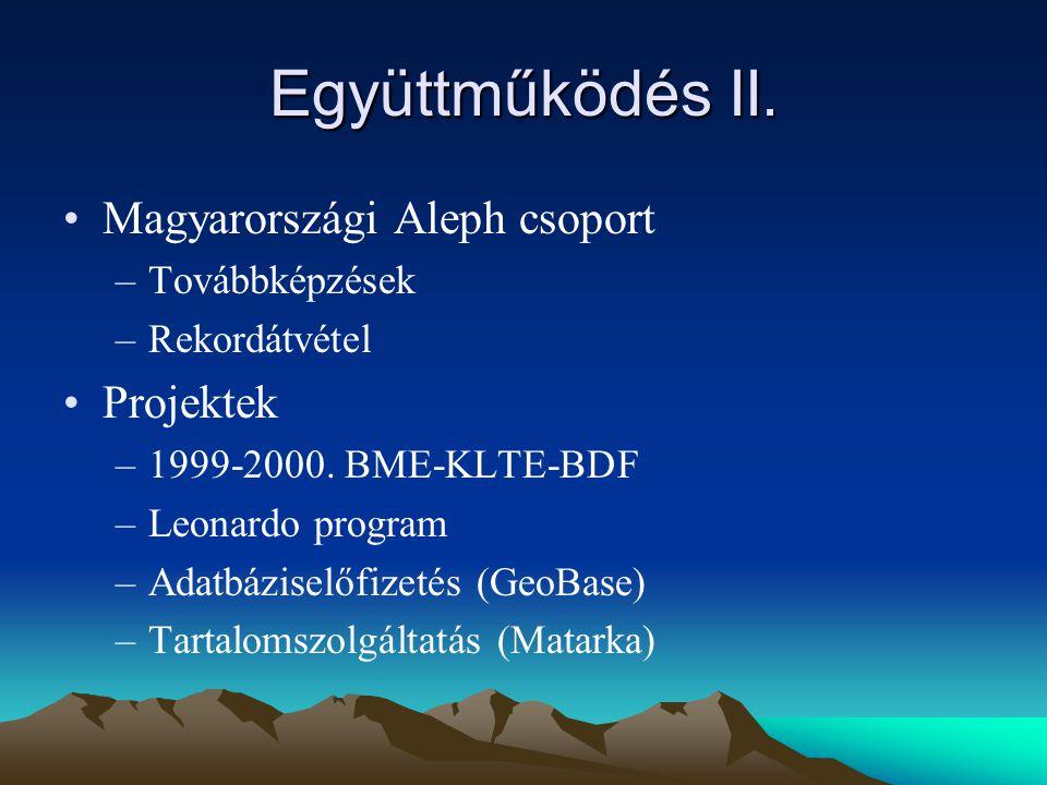 Együttműködés II. Magyarországi Aleph csoport –Továbbképzések –Rekordátvétel Projektek –1999-2000.