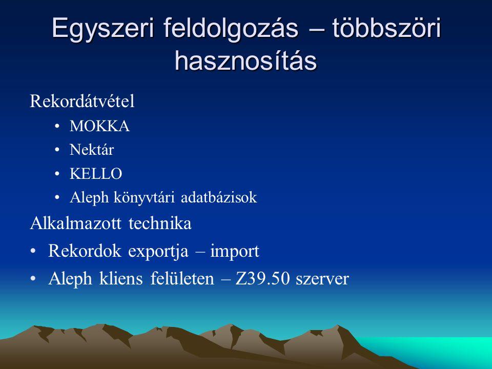 Egyszeri feldolgozás – többszöri hasznosítás Rekordátvétel MOKKA Nektár KELLO Aleph könyvtári adatbázisok Alkalmazott technika Rekordok exportja – import Aleph kliens felületen – Z39.50 szerver