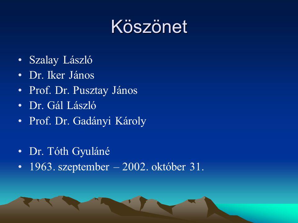 Köszönet Szalay László Dr. Iker János Prof. Dr. Pusztay János Dr.