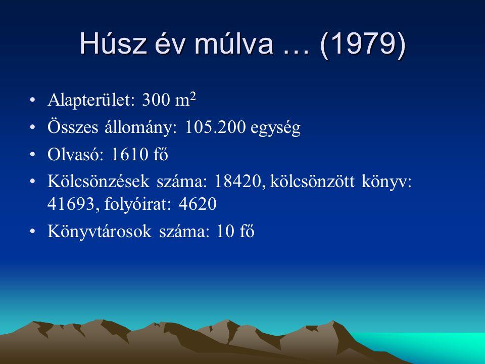 Húsz év múlva … (1979) Alapterület: 300 m 2 Összes állomány: 105.200 egység Olvasó: 1610 fő Kölcsönzések száma: 18420, kölcsönzött könyv: 41693, folyóirat: 4620 Könyvtárosok száma: 10 fő