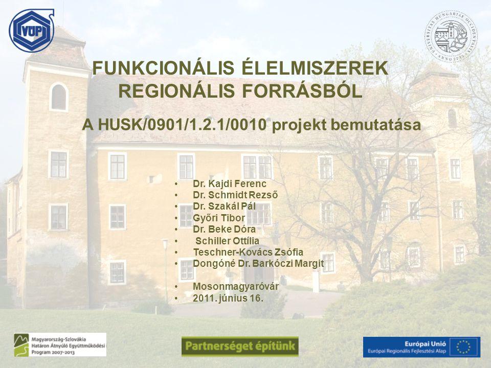 A HUSK/0901/1.2.1/0010 projekt bemutatása Dr. Kajdi Ferenc Dr. Schmidt Rezső Dr. Szakál Pál Győri Tibor Dr. Beke Dóra Schiller Ottília Teschner-Kovács