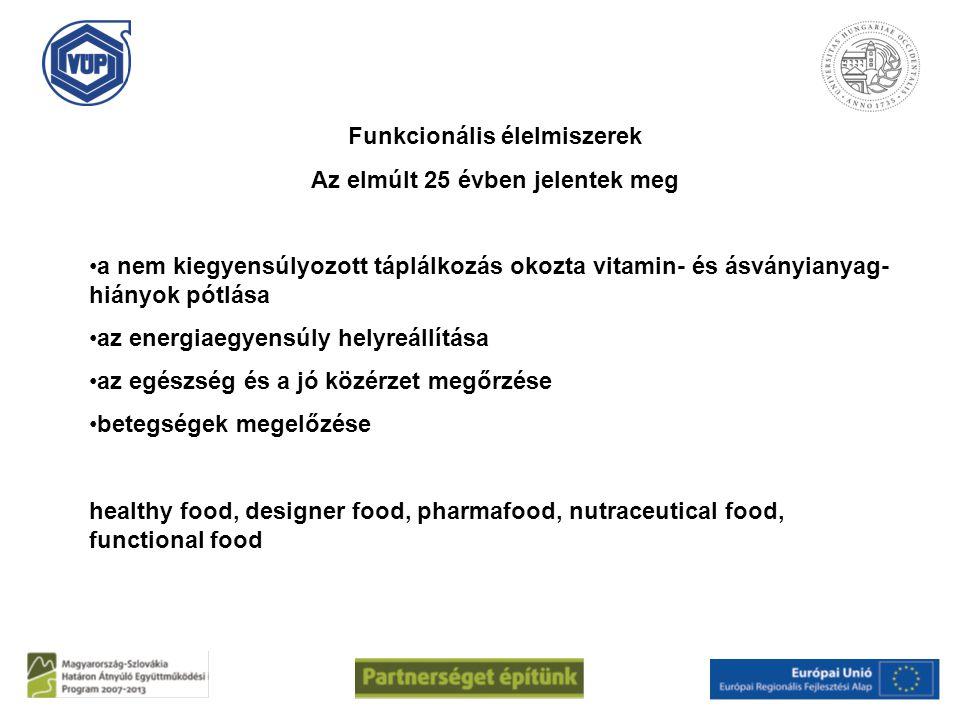 Funkcionális élelmiszerek Az elmúlt 25 évben jelentek meg a nem kiegyensúlyozott táplálkozás okozta vitamin- és ásványianyag- hiányok pótlása az energ