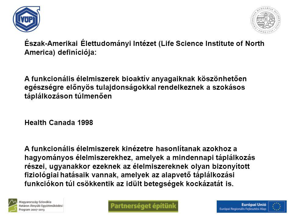 Észak-Amerikai Élettudományi Intézet (Life Science Institute of North America) definíciója: A funkcionális élelmiszerek bioaktív anyagaiknak köszönhet