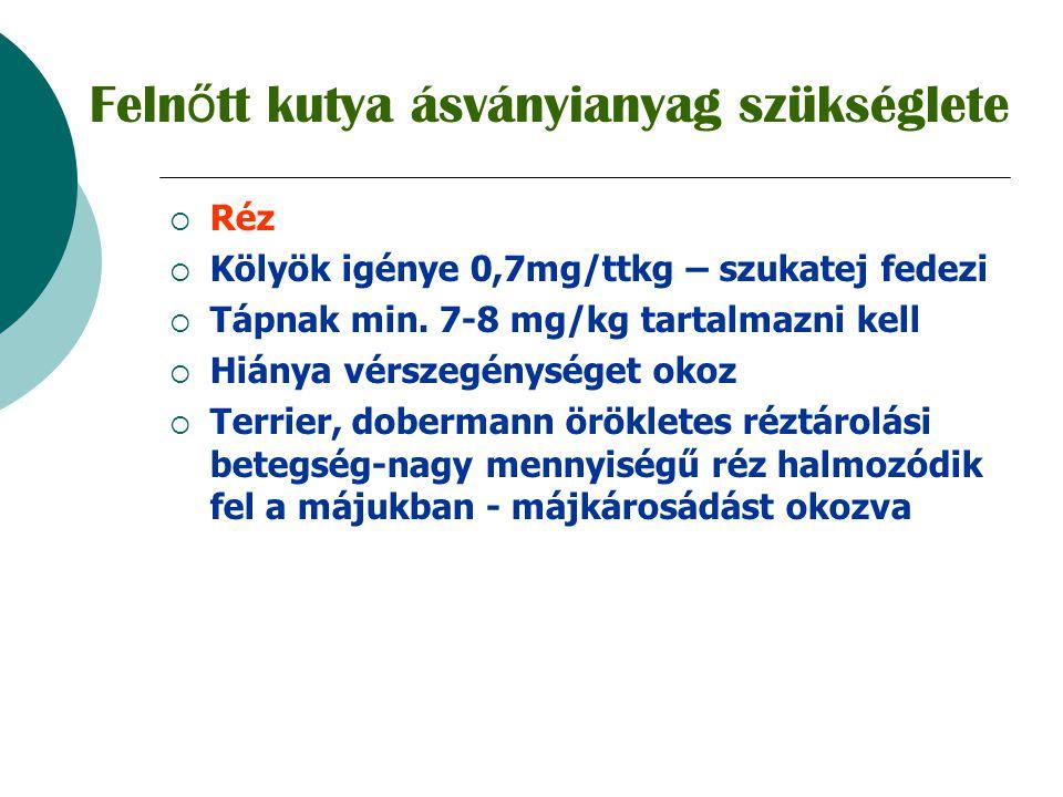  Cink  Napi szükséglet 1-2 mg/ttkg  Tápnak min.