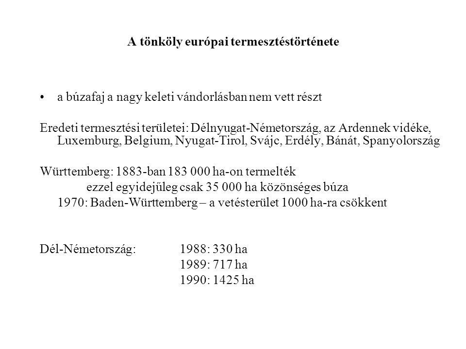 A tönköly európai termesztéstörténete a búzafaj a nagy keleti vándorlásban nem vett részt Eredeti termesztési területei: Délnyugat-Németország, az Ard
