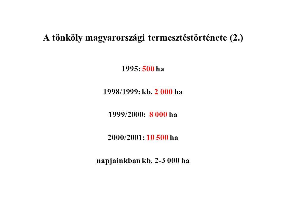 A tönköly magyarországi termesztéstörténete (2.) 1995: 500 ha 1998/1999: kb. 2 000 ha 1999/2000: 8 000 ha 2000/2001: 10 500 ha napjainkban kb. 2-3 000