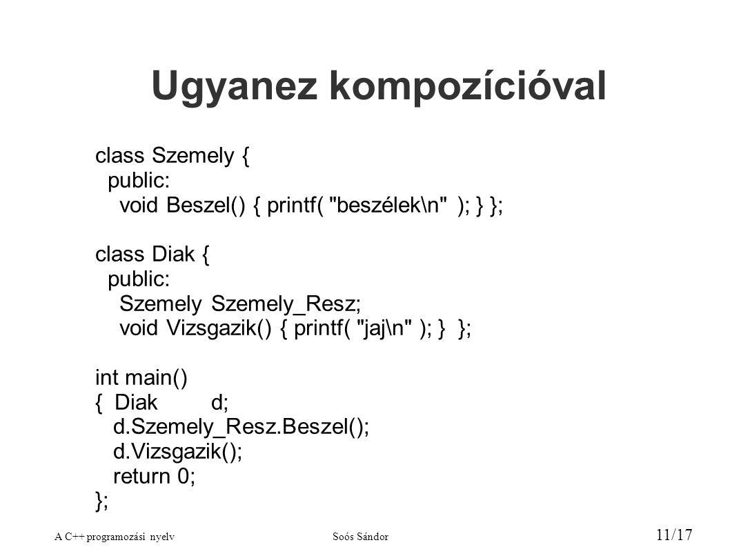 A C++ programozási nyelvSoós Sándor 11/17 Ugyanez kompozícióval class Szemely { public: void Beszel() { printf( beszélek\n ); } }; class Diak { public: SzemelySzemely_Resz; void Vizsgazik() { printf( jaj\n ); } }; int main() { Diakd; d.Szemely_Resz.Beszel(); d.Vizsgazik(); return 0; };