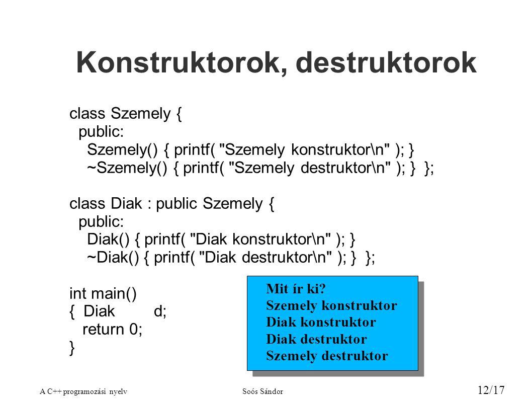 A C++ programozási nyelvSoós Sándor 12/17 Konstruktorok, destruktorok class Szemely { public: Szemely() { printf( Szemely konstruktor\n ); } ~Szemely() { printf( Szemely destruktor\n ); } }; class Diak : public Szemely { public: Diak() { printf( Diak konstruktor\n ); } ~Diak() { printf( Diak destruktor\n ); } }; int main() { Diakd; return 0; } Mit ír ki.
