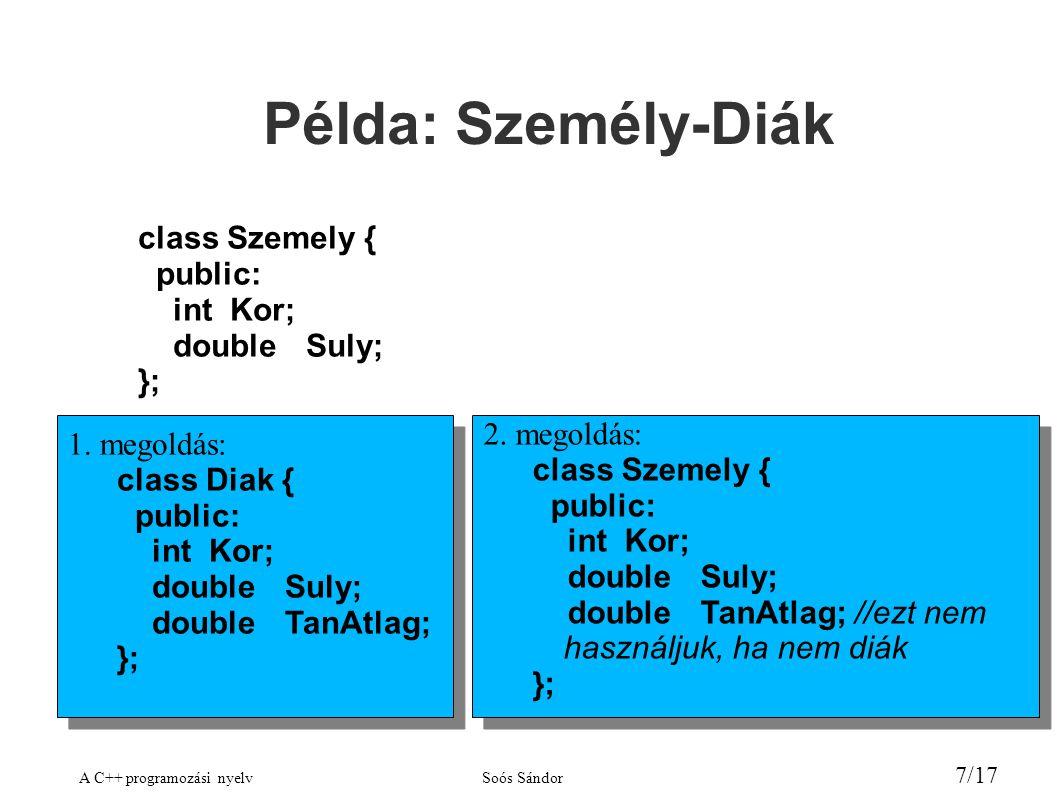 A C++ programozási nyelvSoós Sándor 7/17 Példa: Személy-Diák class Szemely { public: intKor; doubleSuly; }; 1.