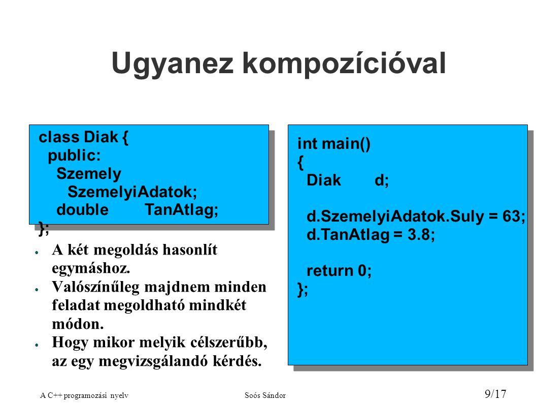 A C++ programozási nyelvSoós Sándor 9/17 Ugyanez kompozícióval class Diak { public: Szemely SzemelyiAdatok; doubleTanAtlag; }; int main() { Diakd; d.SzemelyiAdatok.Suly = 63; d.TanAtlag = 3.8; return 0; }; ● A két megoldás hasonlít egymáshoz.