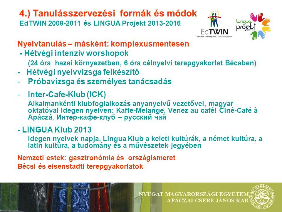 Nyelvtanulás – másként: komplexusmentesen - Hétvégi intenzív worshopok (24 óra hazai környezetben, 6 óra célnyelvi terepgyakorlat Bécsben) - Hétvégi n