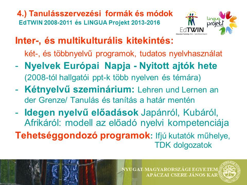 Inter-, és multikulturális kitekintés: két-, és többnyelvű programok, tudatos nyelvhasználat -Nyelvek Európai Napja - Nyitott ajtók hete (2008-tól hallgatói ppt-k több nyelven és témára) -Kétnyelvű szeminárium: Lehren und Lernen an der Grenze/ Tanulás és tanítás a határ mentén -Idegen nyelvű előadások Japánról, Kubáról, Afrikáról: modell az előadó nyelvi kompetenciája Tehetséggondozó programok : Ifjú kutatók műhelye, TDK dolgozatok 4.) Tanulásszervezési formák és módok EdTWIN 2008-2011 és LINGUA Projekt 2013-2016