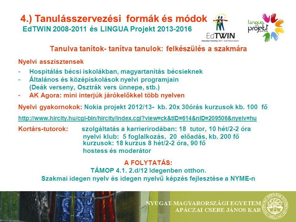 Tanulva tanítok- tanítva tanulok: felkészülés a szakmára Nyelvi asszisztensek -Hospitálás bécsi iskolákban, magyartanítás bécsieknek -Általános és középiskolások nyelvi programjain (Deák verseny, Osztrák vers ünnepe, stb.) -AK Agora: mini interjúk járókelőkkel több nyelven Nyelvi gyakornokok: Nokia projekt 2012/13- kb.