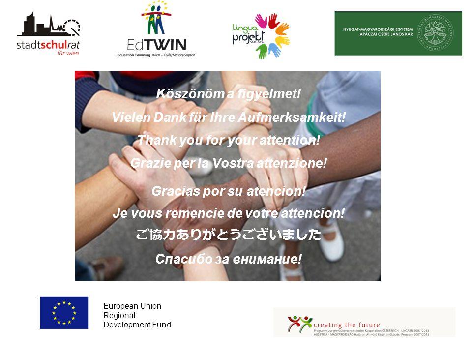 European Union Regional Development Fund Köszönöm a figyelmet! Vielen Dank für Ihre Aufmerksamkeit! Thank you for your attention! Grazie per la Vostra