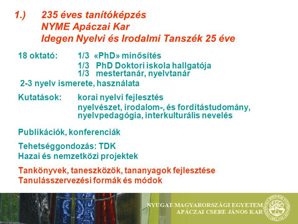 1.) 235 éves tanítóképzés NYME Apáczai Kar Idegen Nyelvi és Irodalmi Tanszék 25 éve 18 oktató: 1/3 «PhD» minősítés 1/3 PhD Doktori iskola hallgatója 1/3 mestertanár, nyelvtanár 2-3 nyelv ismerete, használata Kutatások: korai nyelvi fejlesztés nyelvészet, irodalom-, és fordítástudomány, nyelvpedagógia, interkulturális nevelés Publikációk, konferenciák Tehetséggondozás: TDK Hazai és nemzetközi projektek Tankönyvek, taneszközök, tananyagok fejlesztése Tanulásszervezési formák és módok