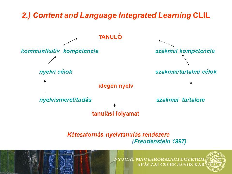2.) Content and Language Integrated Learning CLIL TANULÓ kommunikatív kompetencia szakmai kompetencia nyelvi célokszakmai/tartalmi célok idegen nyelv nyelvismeret/tudás szakmai tartalom tanulási folyamat Kétcsatornás nyelvtanulás rendszere (Freudenstein 1997)