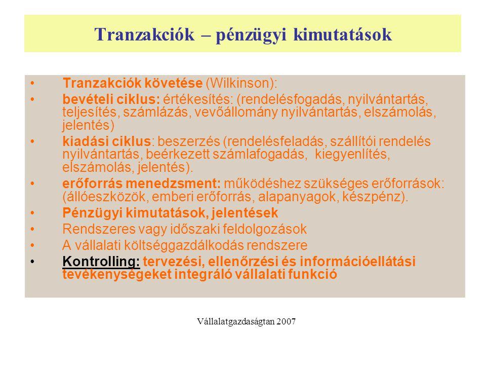 Tranzakciók – pénzügyi kimutatások Tranzakciók követése (Wilkinson): bevételi ciklus: értékesítés: (rendelésfogadás, nyilvántartás, teljesítés, számlá