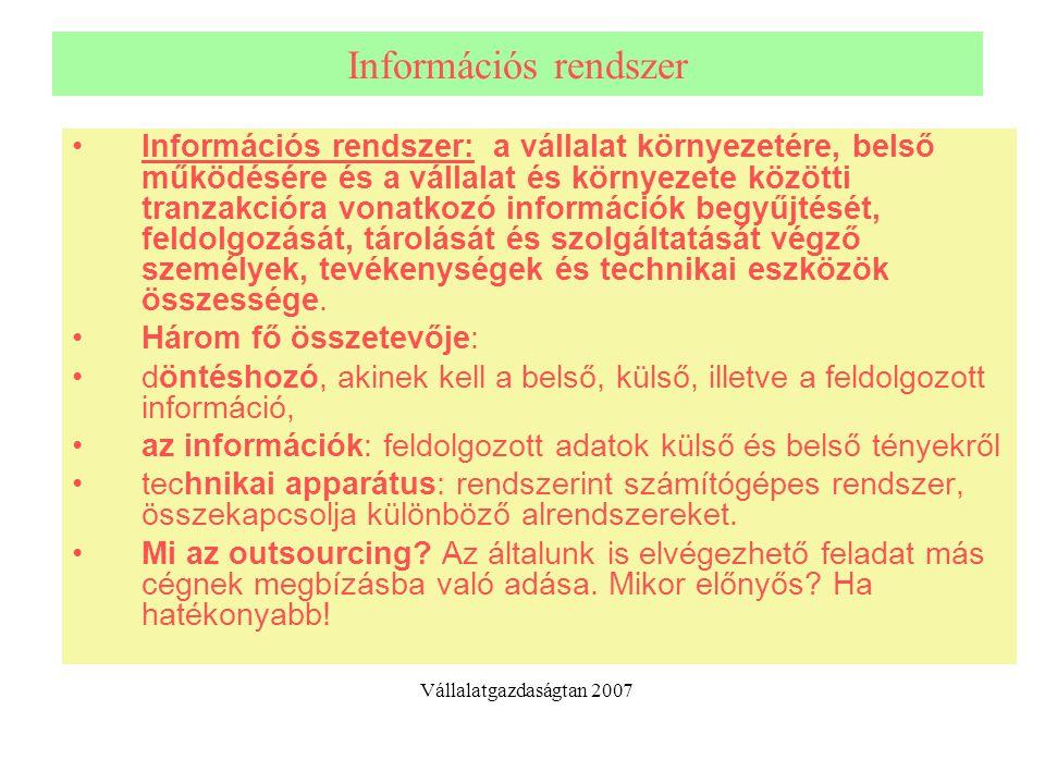 Információs rendszer Információs rendszer: a vállalat környezetére, belső működésére és a vállalat és környezete közötti tranzakcióra vonatkozó inform