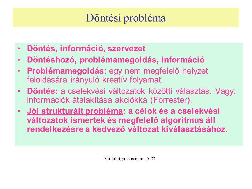 Döntési probléma Döntés, információ, szervezet Döntéshozó, problémamegoldás, információ Problémamegoldás: egy nem megfelelő helyzet feloldására irányu