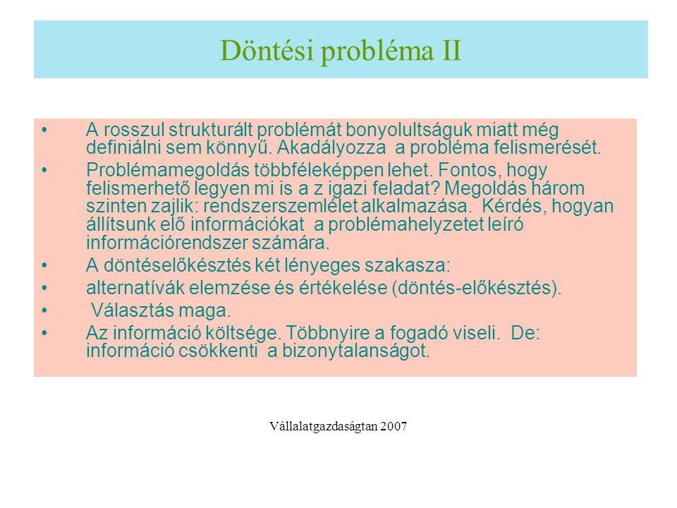 Döntési probléma II A rosszul strukturált problémát bonyolultságuk miatt még definiálni sem könnyű. Akadályozza a probléma felismerését. Problémamegol