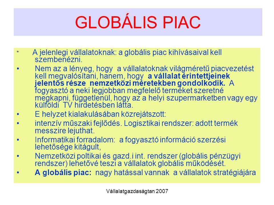 Vállalatgazdaságtan 2007 GLOBÁLIS PIAC * A jelenlegi vállalatoknak: a globális piac kihívásaival kell szembenézni. Nem az a lényeg, hogy a vállalatokn