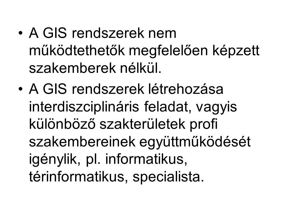 A GIS rendszerek nem működtethetők megfelelően képzett szakemberek nélkül. A GIS rendszerek létrehozása interdiszciplináris feladat, vagyis különböző