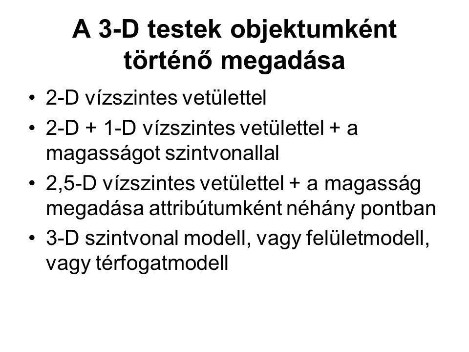 A 3-D testek objektumként történő megadása 2-D vízszintes vetülettel 2-D + 1-D vízszintes vetülettel + a magasságot szintvonallal 2,5-D vízszintes vet
